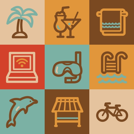 Vacation web icons, vintage series photo