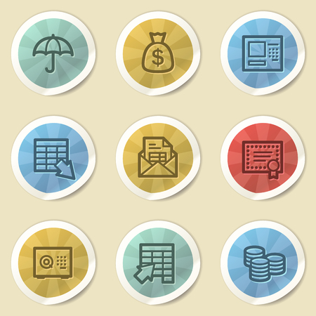 Banking web icons, color vintage stickers photo
