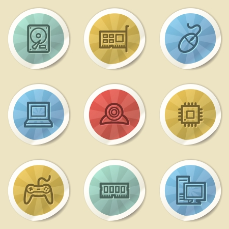 Computer storage web icons, color vintage stickers photo