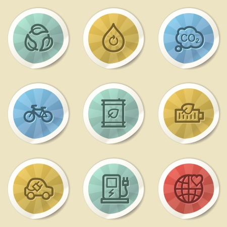 electro world: Eco web icons, color vintage stickers Stock Photo