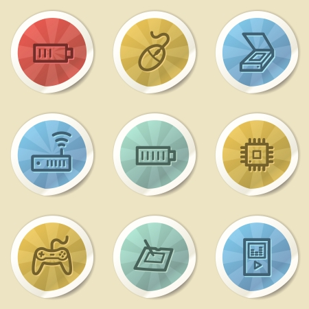 Electronics web icons, color vintage stickers photo