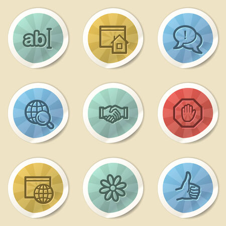 icq: Internet web icons, color vintage stickers Stock Photo