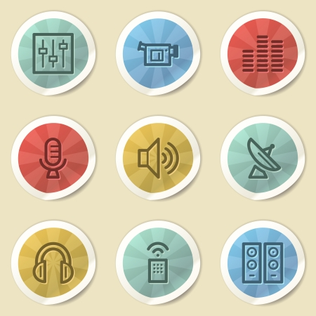 Media web icons, color vintage stickers photo