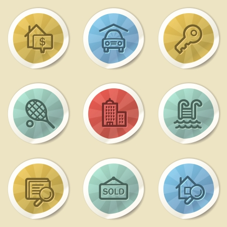 Real estate web icons, color vintage stickers photo