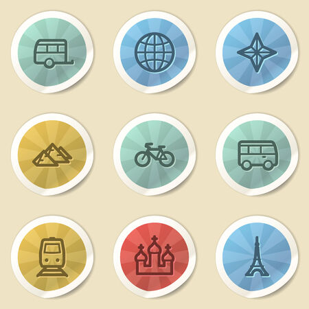 Travel web icons, color vintage stickers photo