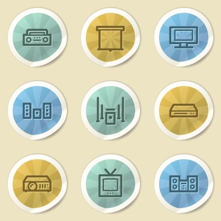Audio video web icons, color vintage stickers photo