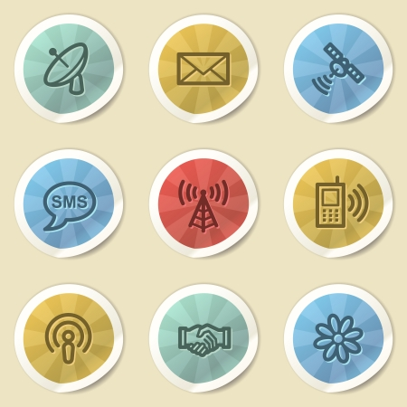 Communication web icons, color vintage stickers photo