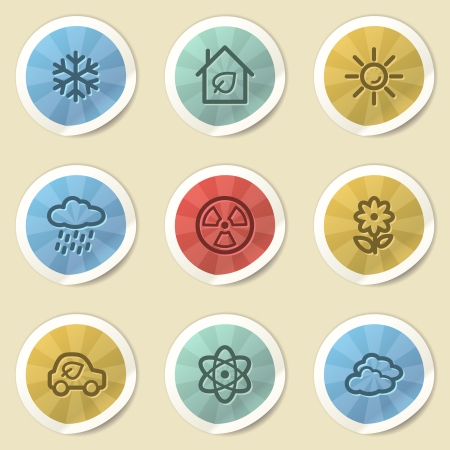Eco web icons, color vintage stickers Stock Photo - 25495014