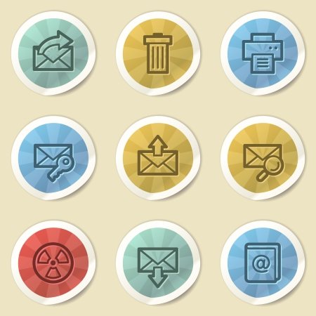 E-mail web icons, color vintage stickers photo