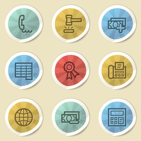 Finance web icons, color vintage stickers photo