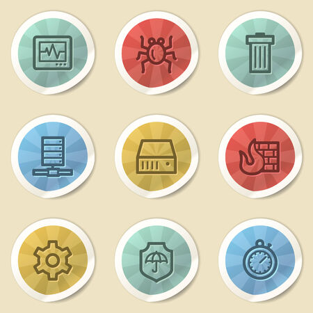 Internet security web icons, color vintage stickers photo