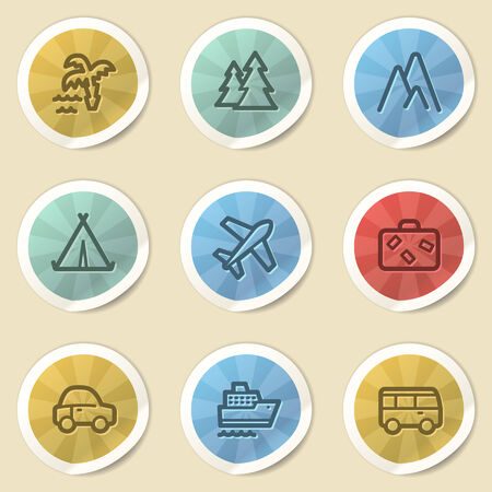 air liner: Travel web icons, color vintage stickers