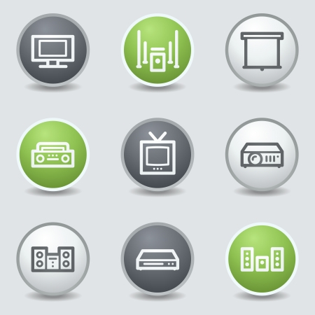 Audio video web icons, circle  buttons Vector
