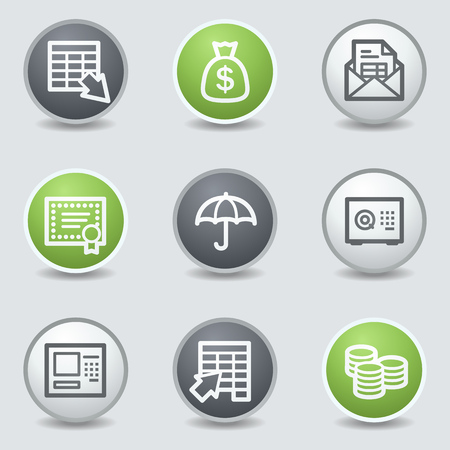 Banking  web icons, circle buttons Vector