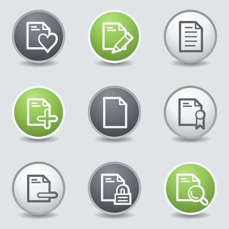 Document web icons set 2, circle buttons Vector