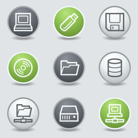 fdd: Drives and storage web icons, circle buttons