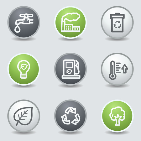 Ecology web icons set 1, circle buttons Vector