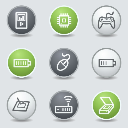 Electronics web icons set 2, circle buttons Vector