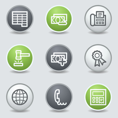 Finance web icons set 2, circle buttons Vector