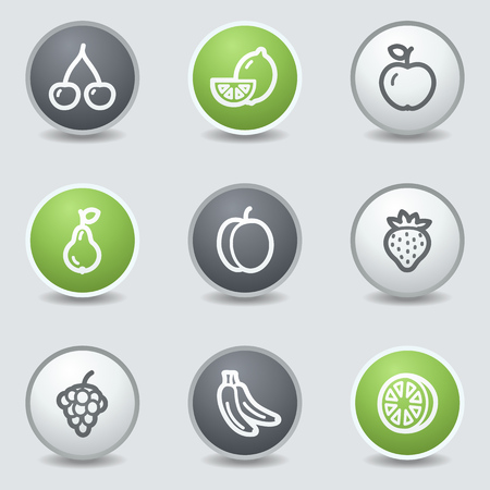 Fruits web icons, circle buttons Vector