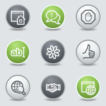icq: Internet web icons set 1, circle buttons Illustration