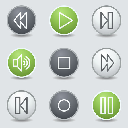 Media player web icons, circle buttons Vector