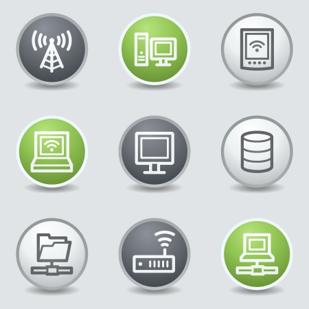 Network web icons, circle buttons