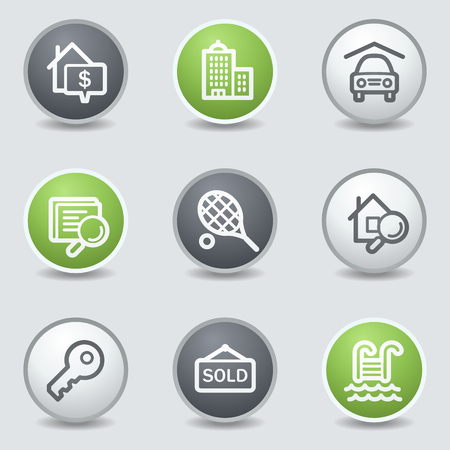 Real estate web icons, circle buttons Vector
