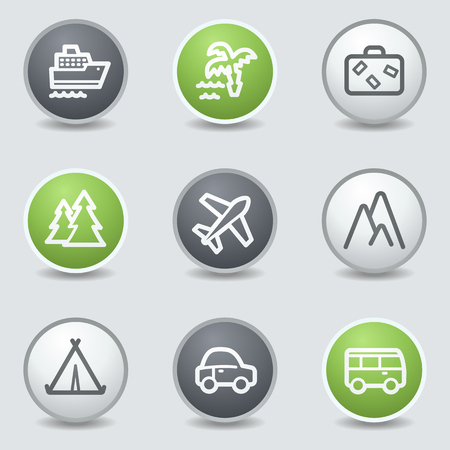 air liner: Travel web icons set 1, circle buttons