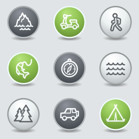Travel web icons set 3, circle buttons Vector