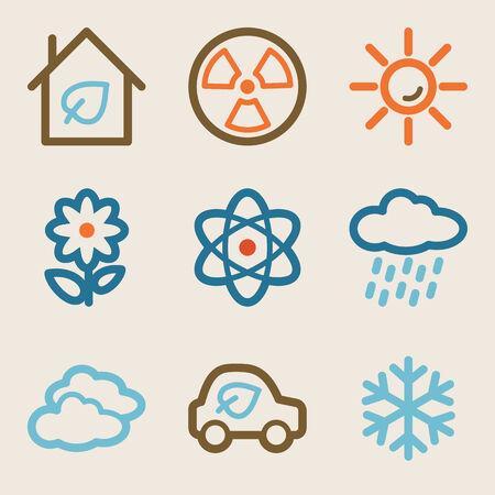 Eco web icons, vintage series Vector