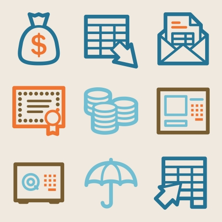 Banking web icons, vintage series Vector