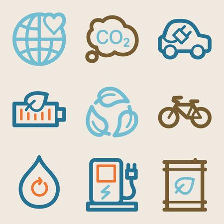 Eco web icons, vintage series