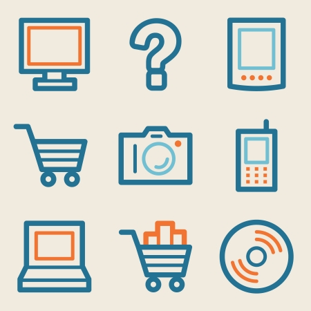 Electronics web icons, vintage series