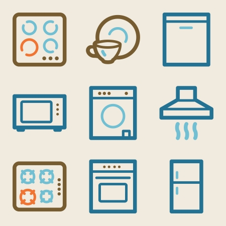 microwave oven: Home appliances web icons, vintage series Illustration