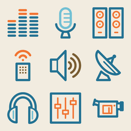 Media web icons, vintage series Vector