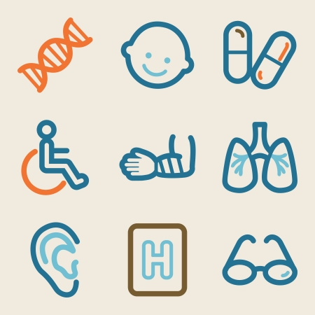 Medicine web icons, vintage series Stock Vector - 25495161