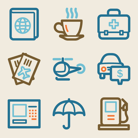 Travel web icons, vintage series Vector