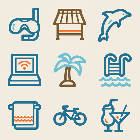 pool party: Vacation web icons, vintage series