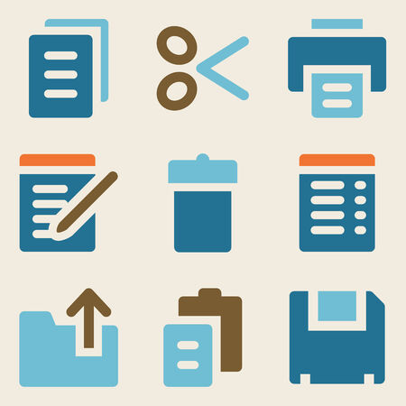 Document web icons vintage color series Vector
