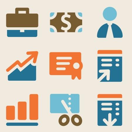 Finance web icons set 1 vintage color series Ilustração