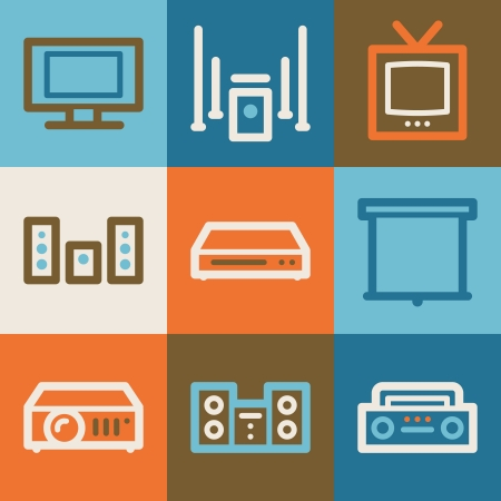 Audio video web icons, vintage series Vector