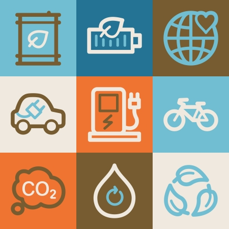 electro world: Eco web icons, vintage series