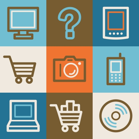 shopping questions: Electronics web icons, vintage series