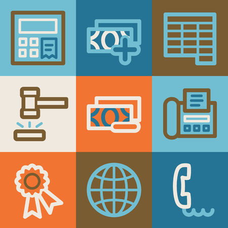 Finance web icons, vintage series Vector