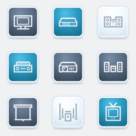 set square: Audio video web icon set, square  buttons