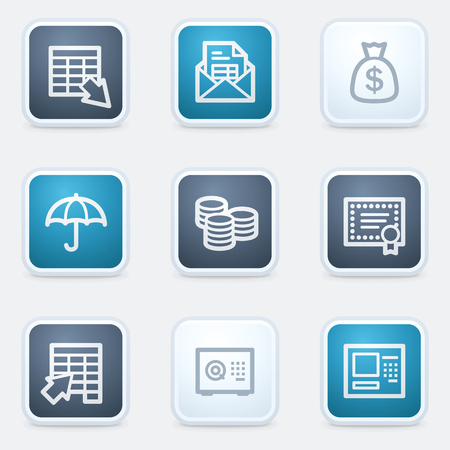 Banking web icon set, square buttons Vector