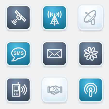access point: Communication web icon set, square buttons