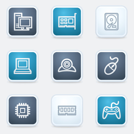 nettop: Computer web icon set, square buttons Illustration