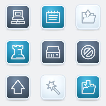 set square: Data web icon set, square buttons